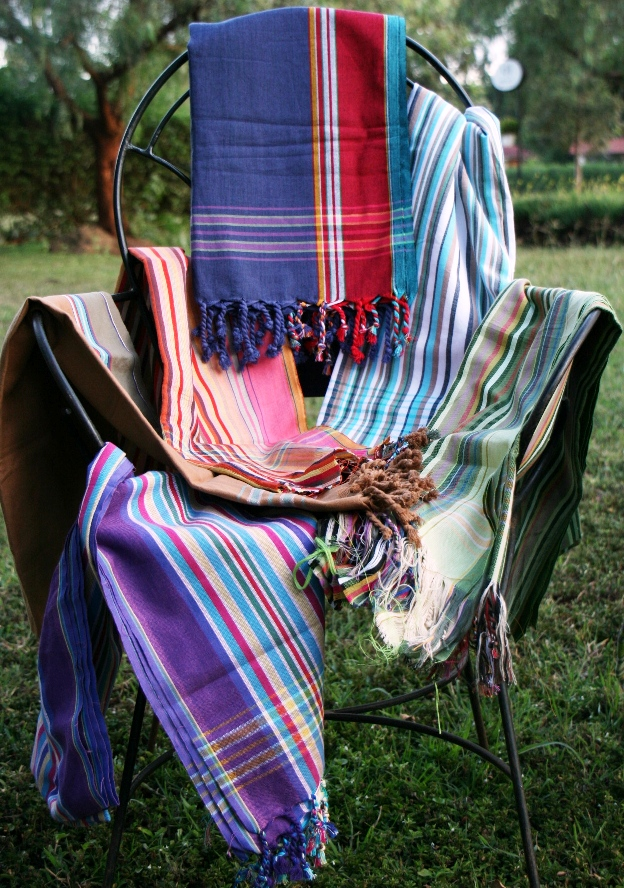 kanga-cloth fabrics on a chair