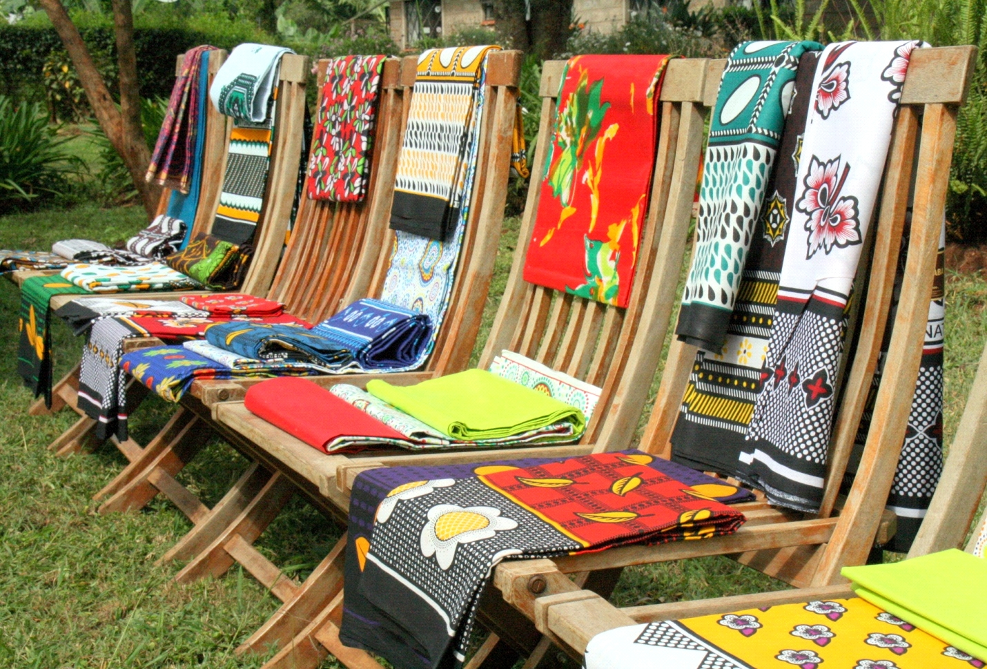 East African fabrics on chairs